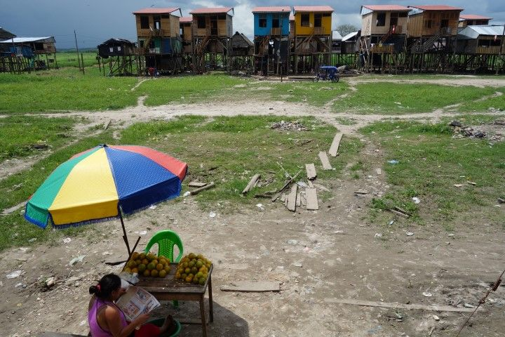 Perou-Iquitos: Quartier de Belen, quand l'Amazonie est remplacé par l'herbes lors de la saison seche.