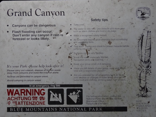 Panneau du grand canyon au Blue Mountains photo blog voyage tour du monde https://yoytourdumonde.fr