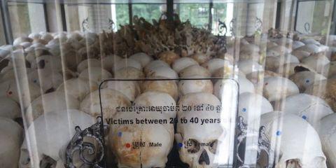 cranes des victimes des khmers rouges à Killing Fields.