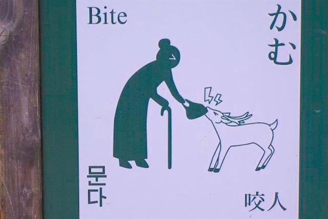 Panneau assez humouristique pour un français photo blog voyage tout du monde japon nara https://yoytourdumonde.fr