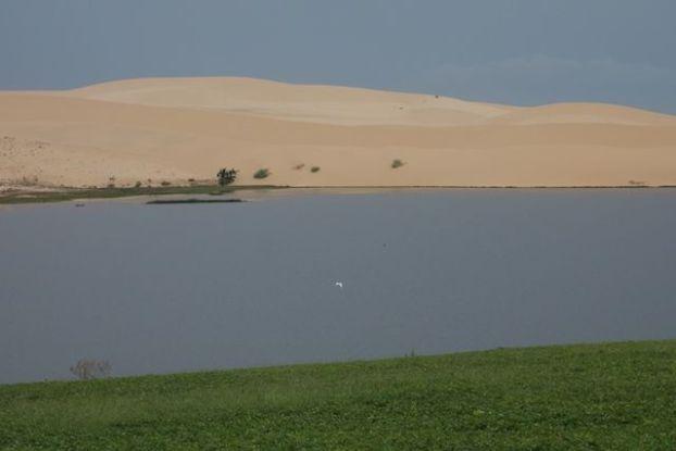 dunes, lac et vegetation dans le desert de Mui Ne blog https://yoytourdumonde.fr