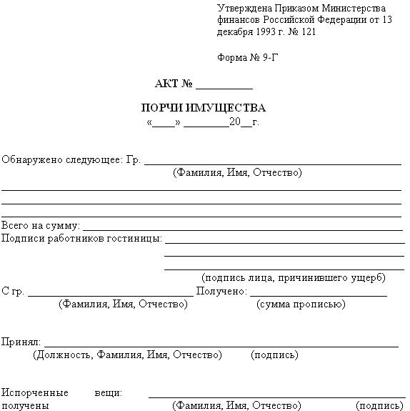 Нюансы оформления акта о порче имущества. Оформление акта о порче имущества