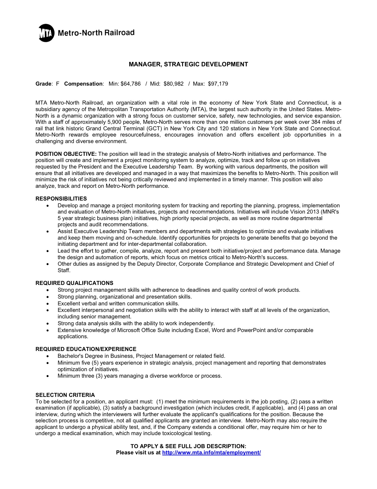 Supervisor Resume Examples 2012 Metro North Railroad Manager Strategicdevelopment Ypt