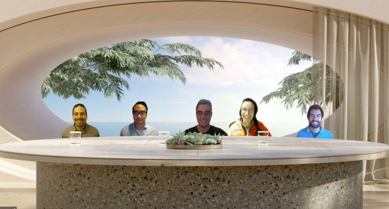 YPT Boston's 2021 Board members assemble virtually around a meeting table in a tropical setting