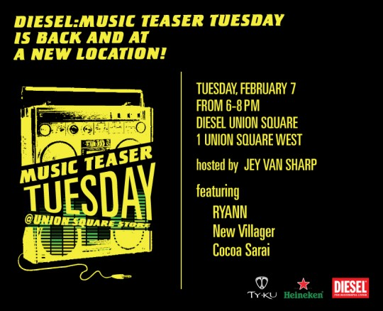 MTT evite 2.7 540x438 - Diesel Music Teaser Tuesdays Returns At New Location