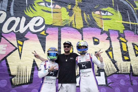 2. DS Virgin Racing drivers with artist D Face 540x360 - Event Recap: Art Goes Green Event with @Kaspersky Lab @DSVirginRacing @DFaceOfficial at The @newmuseum @alexlynnracing @sambirdracing #FormulaE #NYCEPrix