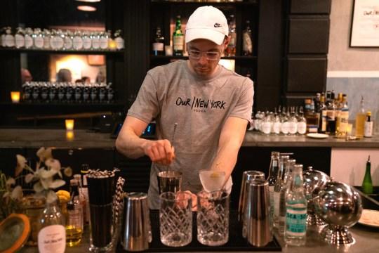 Our New York bartender mixing cocktails 540x360 - Event Recap: Pernod Ricard Art Battle @ournewyorkvodka @PernodricardUSA @NapkinKilla