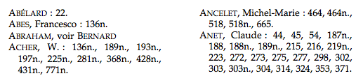 The first lines of the index.
