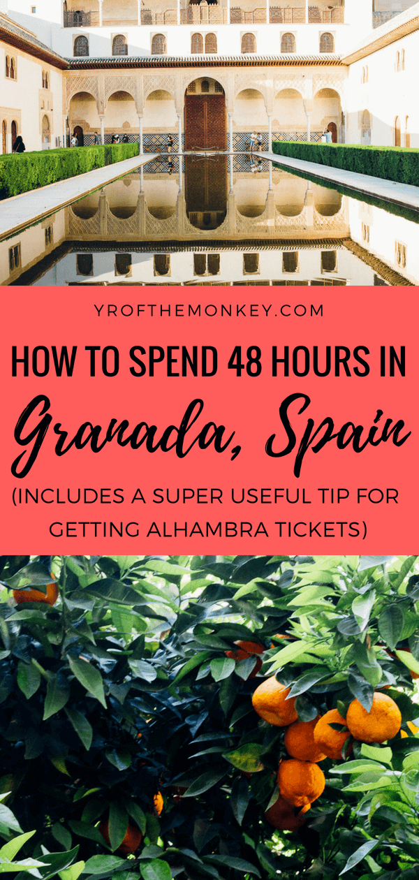 Traveling to Granada, Spain? read this fantastic 48 hour Granada guide that covers the best attractions in Granada along with a super useful tip on how to see the Alhambra palace when online tickets have sold out! Pin this to your Spain or Europe board now! #granada #spain #alhambra #europe #spaintravel #summervacation