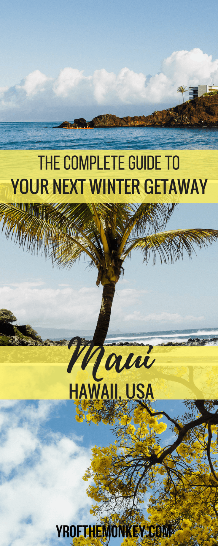 This is your complete travel guide to Maui, Hawaii, USA for that perfect winter vacation. Read this guide for tips on hotels, dining, major Maui attractions and a secluded beach for that perfect sunset. Pin it to your winter destinations guide or USA travel board for reference. #maui #hawaiitravel #wintervacation #USA