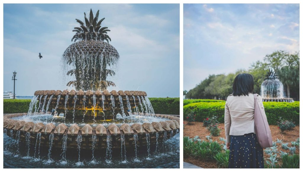 Pineapple fountain in Charleston's waterfront park, another attraction to visit in your Charleston itinerary