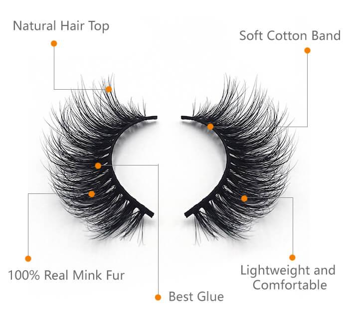 Mink eyelashes detail