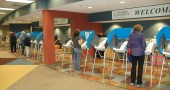 Villagers voted on May 8, Primary Election Day. According to election officials, voting ebbed and flowed throughout the day at Antioch University Midwest, with an overall turnout of 1,664 voters. For precincts in Yellow Springs and Miami Township, the total turnout was about 53 percent, compared to 22 percent county-wide. (Photo by Megan Bachman)