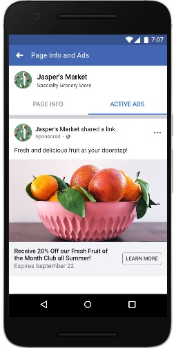 Facebook Page Info and Ads 標籤顯示專頁於 Facebook、Instagram、Messenger 和 Audience Network 投放中的廣告