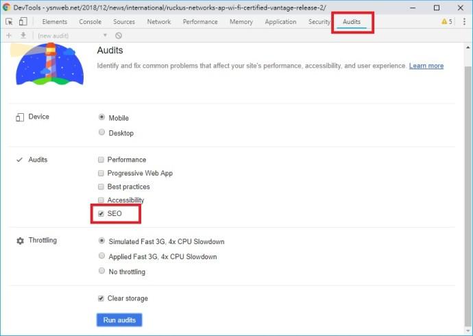 Google Chrome「開發人員工具」中 Audit的選項