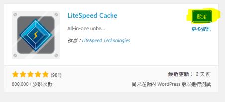 啟用 LiteSpeed Cache 外掛