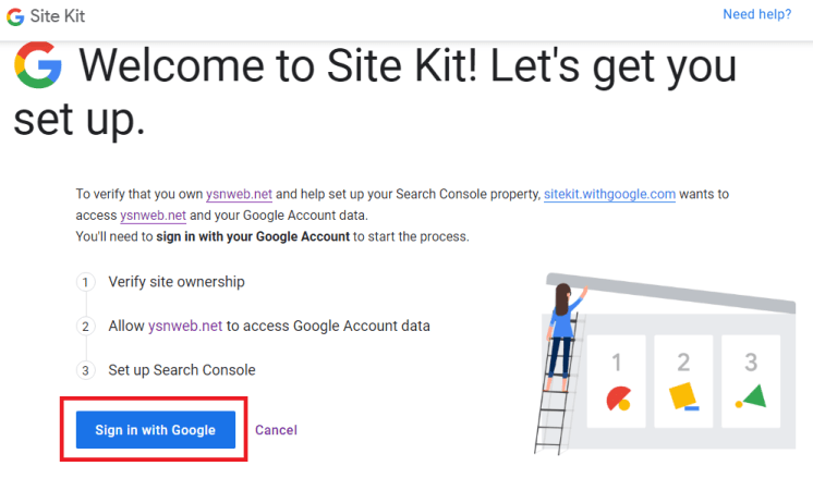 WordPress 會轉址到 Google,要求獲取權限。點擊「Sign in with Google」。
