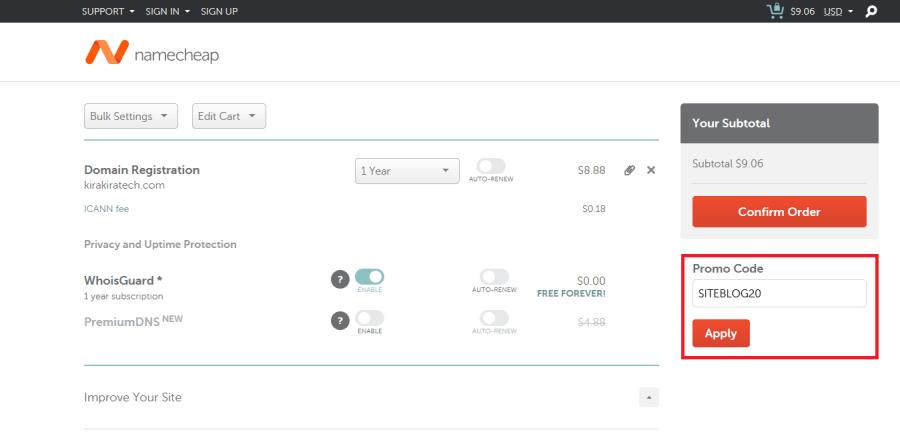 在 Namecheap 購買域名,並輸入優惠碼