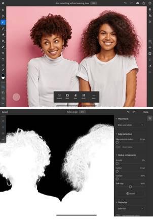 圖像 1:在 Adobe Photoshop on iPad 選取大量飛散的頭髮