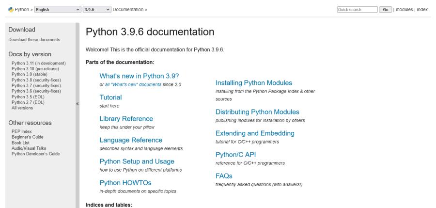 Python 的官方開發者文件