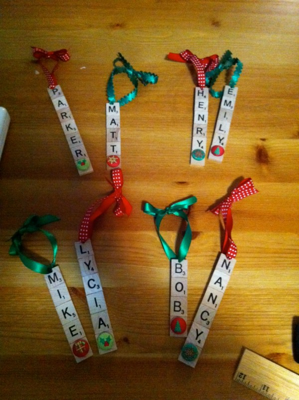 Scrabble Letter Christmas Ornaments