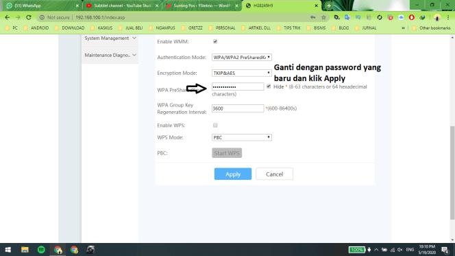 Cara Ganti Password Wifi Indihome Huawei HG8245H5