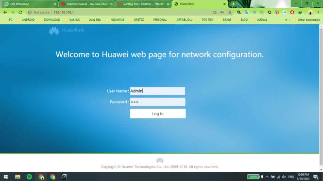 Web Admin Huawei HG8245H5