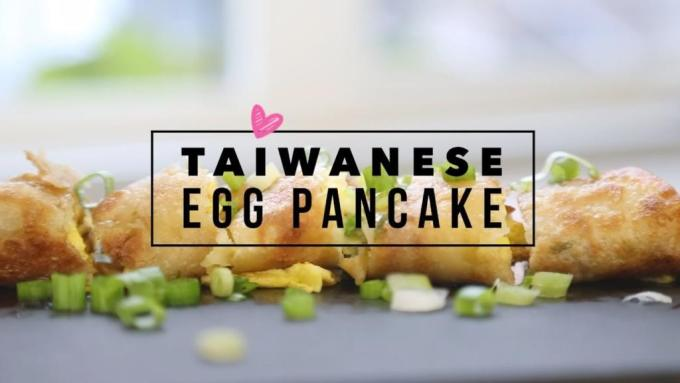Taiwanese Egg Pancake Roll With Green Onions