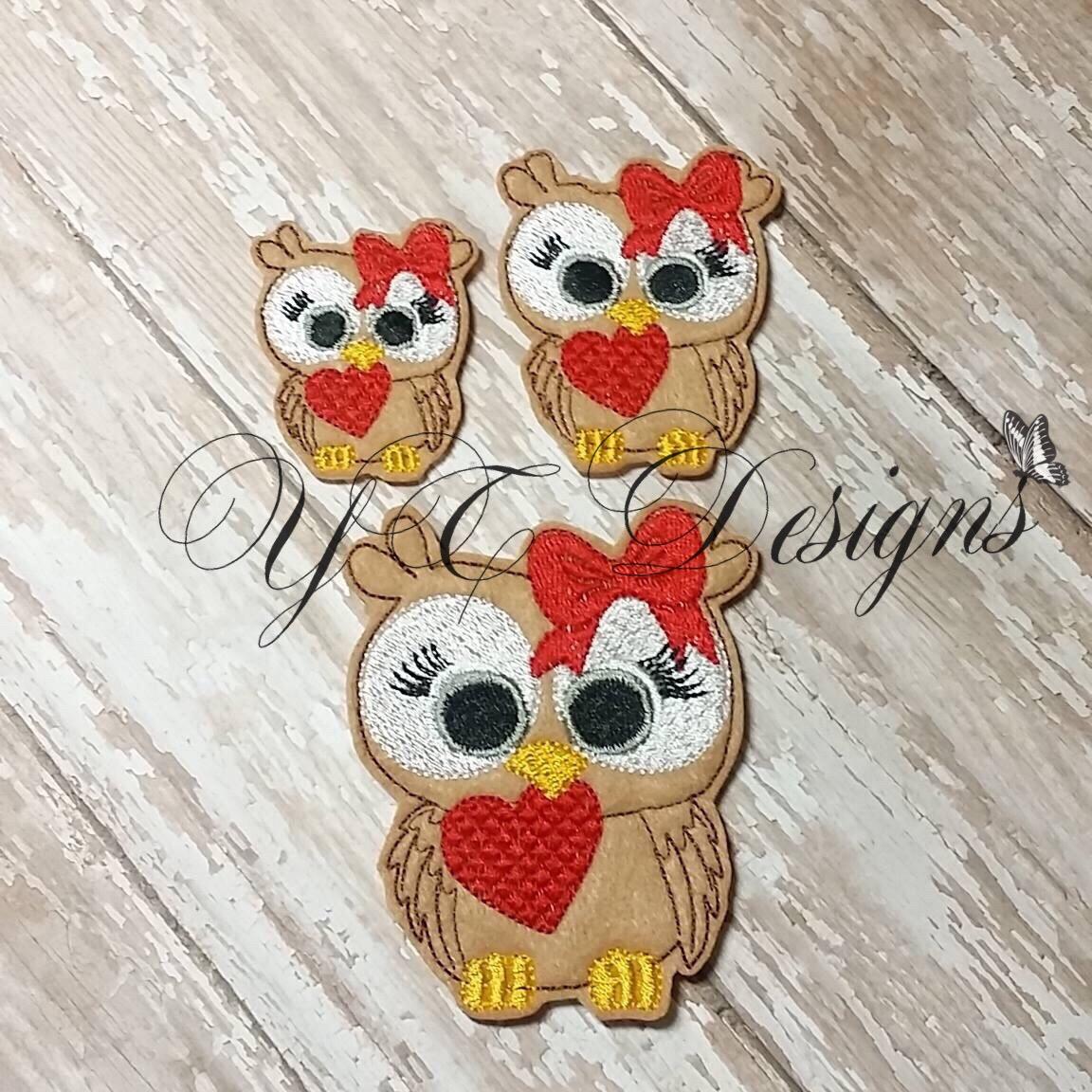 Valentines Day Owl 2 Feltie Machine Embroidery File