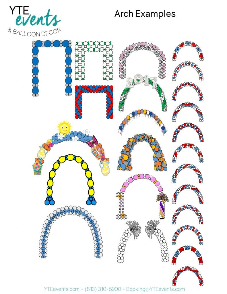 balloon arches and pictures of balloon decorations