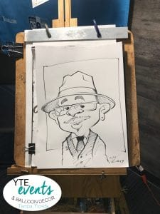 Fun and exciting caricatures at Rays Game in Draft Room Tampa St Petersburg