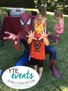 Superheroes hanging out at a birthday party Tampa Florida