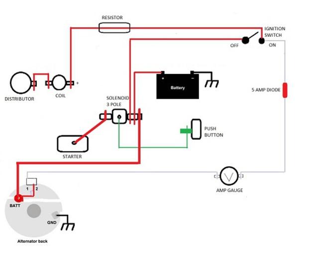 12 volt one wire alternator wiring diagram blank lab fishbone template single ignition gm 1 and schematics8n conversion