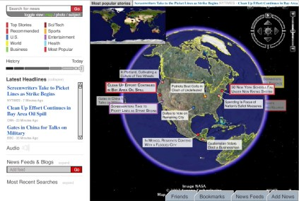 We conceptualized the interface for a globe you can spin around and see headlines for world news. Much like any news aggregator, you can customize your news sources