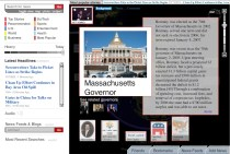 """Clicking on """"Massachusetts Governor"""" gives us a synopsis of his time as Governor, while still giving us the option to explore same level subject ares (at the bottom), or return to the original Romney page (at top)"""