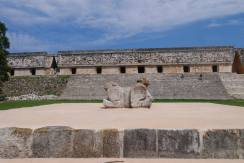 double headed jaguar statue uxmal, governors palace uxmal