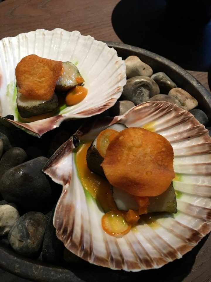 scallop with nori and sweet potato