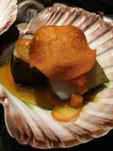 scallops, nori, with sweet potato