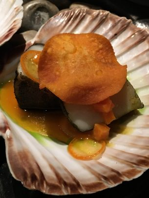 scallops, nori, with sweet potato