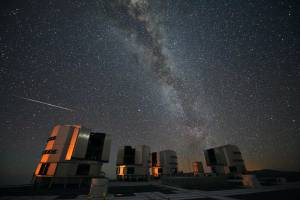 A Perseid seen in August 2010 above the four enclosures of the European Southern Observatory's Very Large Telescope at Paranal, Chile. Photo: ESO / S. Guisard