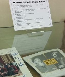 Some of Sen. Barbara Boxer's archives are already on display at UC Berkeley's Bancroft Library. (UC Berkeley Public Affairs photo.)