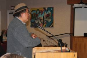 Photo of Francisco Dominguez speaking at Davis City Council meeting by Dan Bacher.
