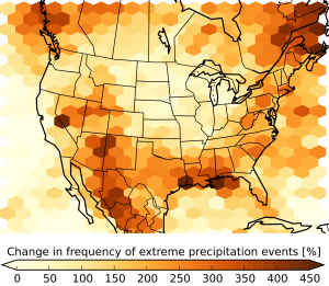 The figure shows the expected increase in the number of summertime storms that produce extreme precipitation at century's end compared to the period 2000 - 2013. (©UCAR. Courtesy Andreas Prein, NCAR. )