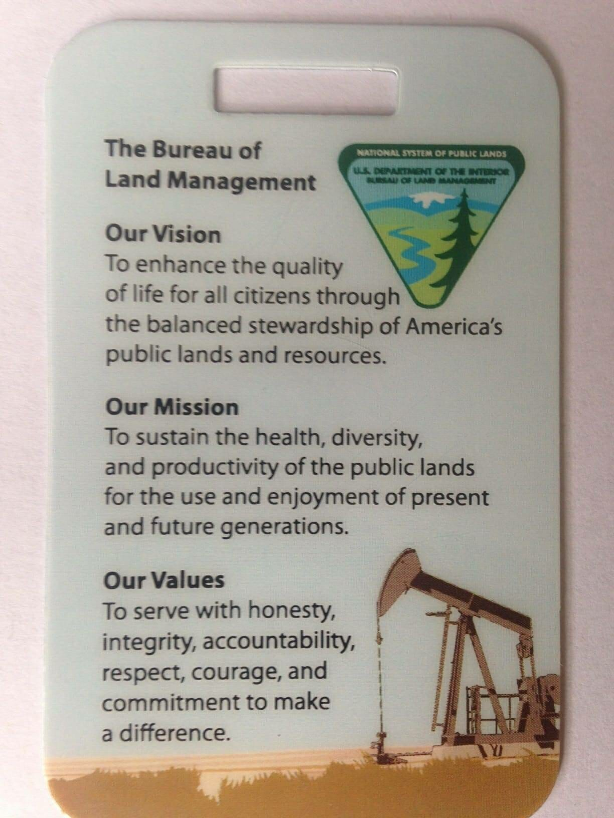 Blm Employees Ordered To Wear Propaganda Badges With Images Of Oil Rigs Livestock Grazing Yubanet