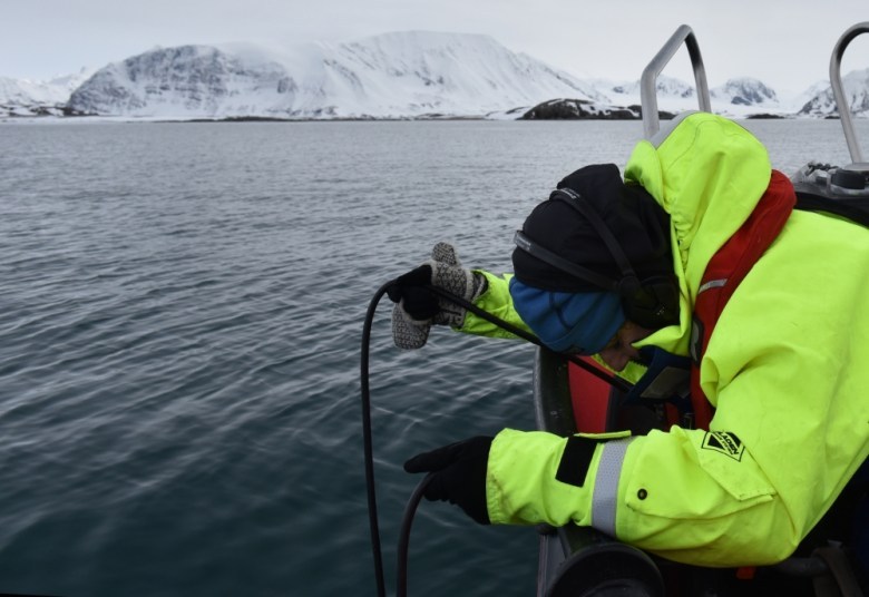 Coauthor and multimedia artist Jana Winderen lowers a microphone into the Barents Sea, one of many locations where she took underwater recordings