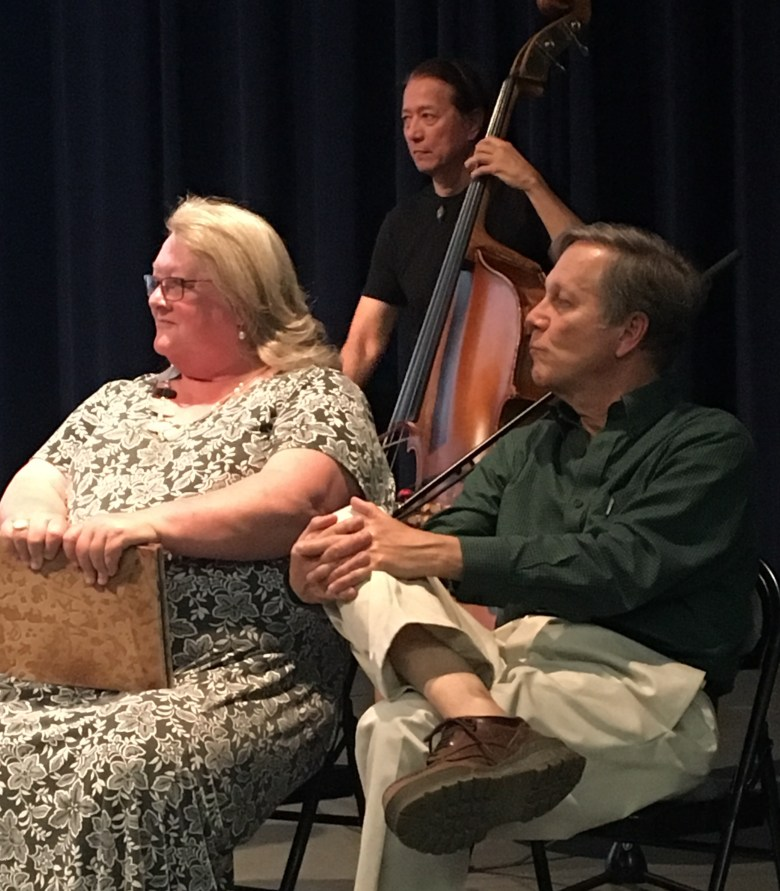 Molly Fisk at Sierra Poetry Festival in 2017, with Dana Gioia, California Poet Laureaete, on the occasion of her being named inaugural Nevada County Poet Laureate (photo: Radu Sava)