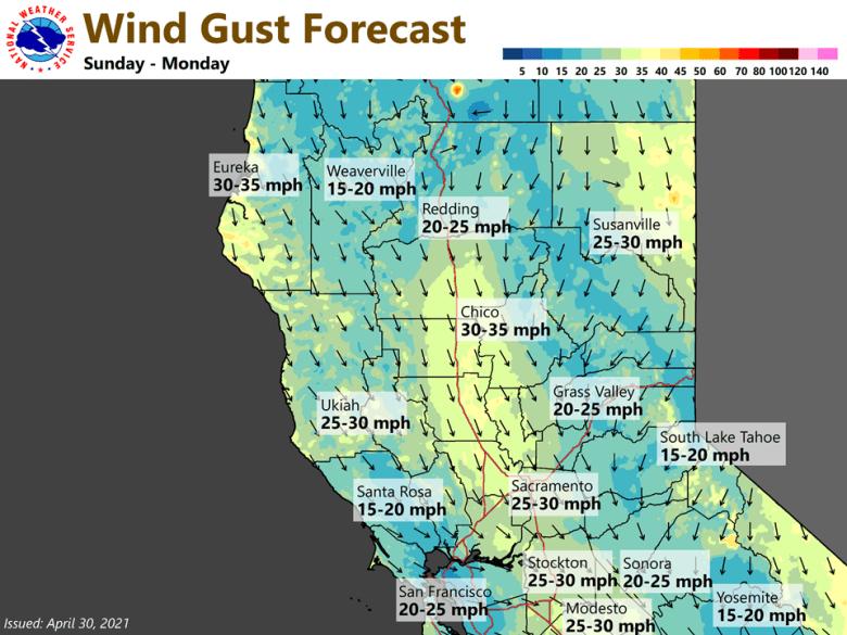 Wind gust forecast Sunday-Monday