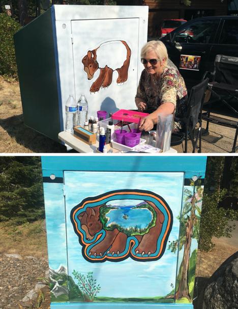 Artist Marianne Bartley with her latest Bear Box Art creation.