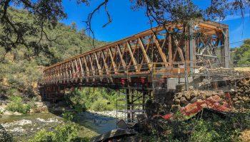 The renovated Bridgeport covered bridge