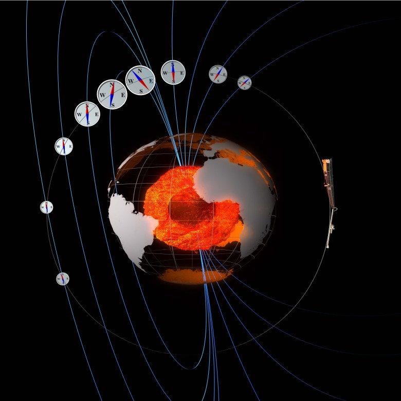 Like '3D compasses', the Swarm satellites measure the strength and direction of Earth's magnetic field.